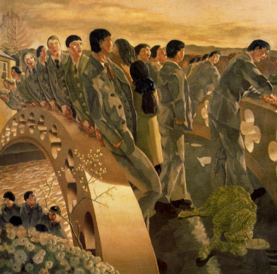 Stanley Spencer. People on the bridge