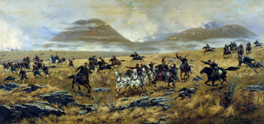 Alexey Danilovich Kivshenko. Nizhny Novgorod Dragoons pursuing the Turks on the road to Kars during the battle Elaginskogo 3 Oct 1877