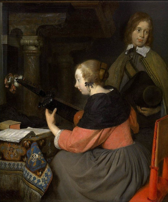 Gerard Terborch (ter Borch). Playing the lute