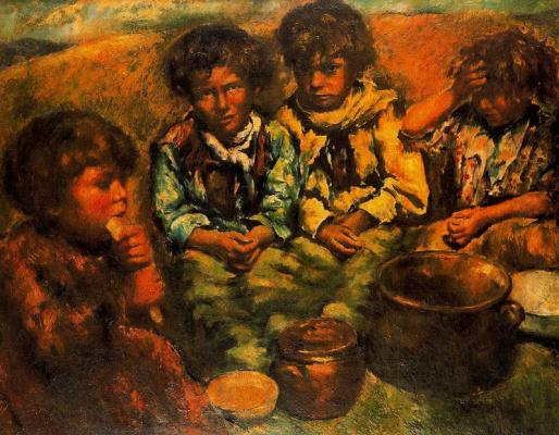Рафаэль Эстрани. Дети обедают