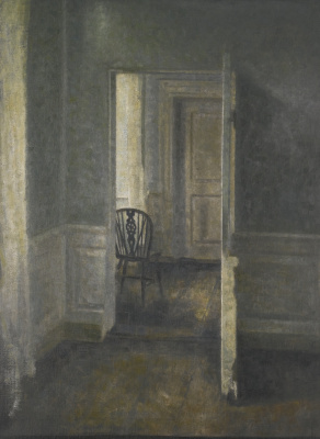 Vilhelm Hammershøi. Interior with a Windsor chair