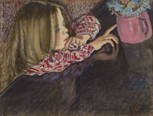 Девочка с вазой цветов
