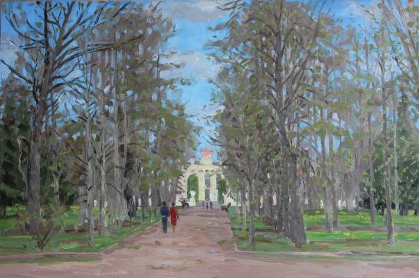 Евгений Александрович Казанцев. Первая зелень. Аллея в парке.