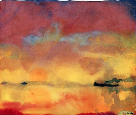 Emil Nolde. Yellow sea with small boats