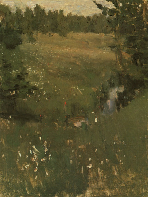 "Konstantin Korovin. Stream. Study for the painting ""Northern idyll"""