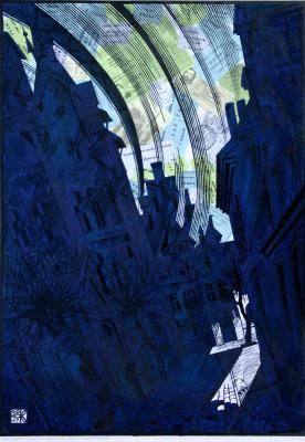 "Vladimir Kataev. ""The gusty wind, West -1"" , Х3М, A/R, 2/3, 72 X 50 cm, 2017"