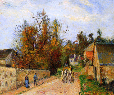 Camille Pissarro. Stagecoach. The road to Ennery.