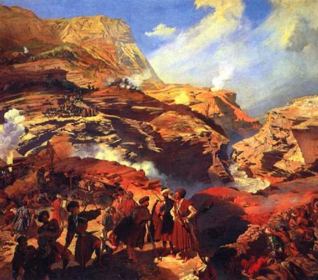 Григорий Григорьевич Гагарин. Сражение между русскими войсками и черкесами при Ахатле 8 мая 1841 года. 1841-1842