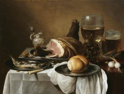 Peter Class. Still Life with Ham, Fish and Bread