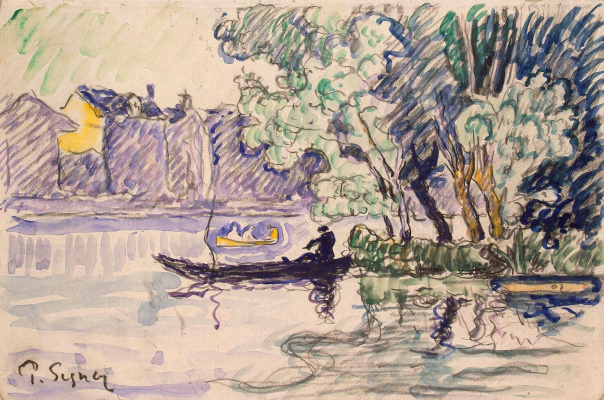 Paul Signac France 1863 - 1935. Angler in a boat off the Seine. About 1901
