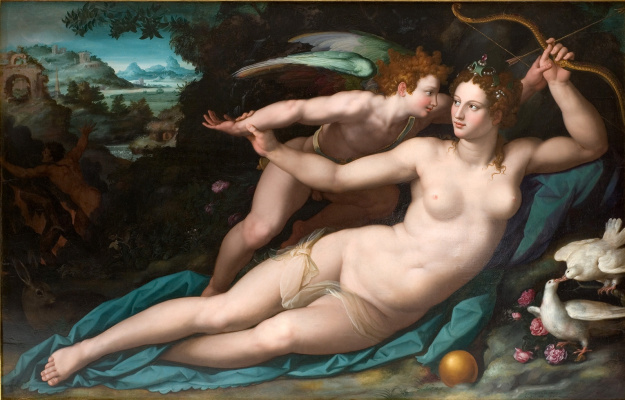 Alessandro Allori. Venus disarms Cupid. About 1570