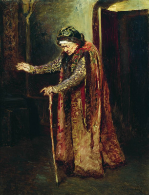 """Konstantin Makovsky. The Nanny Ivan The Terrible. Study for the painting """"the Death of Ivan the terrible"""""""