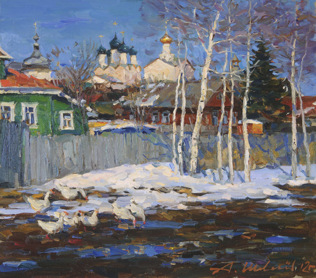 Alexander Victorovich Shevelyov. Spring in Rostov.Oil on canvas 34,5 # of 37.7 cm 2012