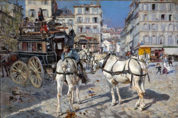 Giovanni Boldini. Omnibus at Place Pigalle in Paris
