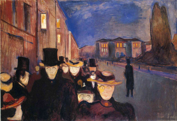 Edvard Munch. Evening on the street of Karl John