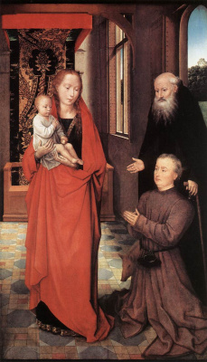 Hans Memling. Madonna with child, Saint Anthony and a donor