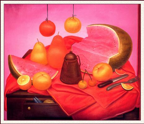Fernando Botero. Still life with watermelon