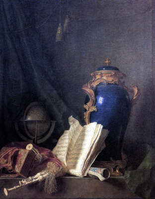 Анри-Орас Ролан Делапорт. Натюрморт с лазуритовой вазой, глобусом и волынкой