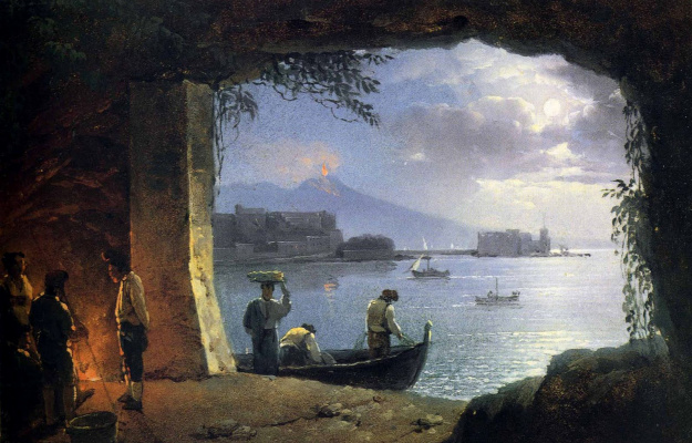 Sylvester Feodosievich Shchedrin. The view from the grotto on mount Vesuvius and Costello del Ovo and the moon at night