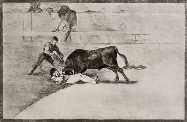 "Francisco Goya. A series of ""Tauromachia"", page 33: the Tragic death of Pepe illo in the arena of Madrid"