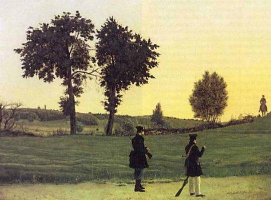 Игнатий Степанович Щедровский. Пейзаж с охотниками. 1839