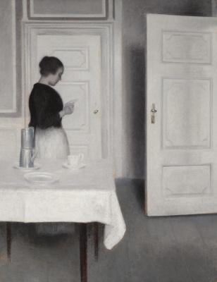 Vilhelm Hammershøi. Ida reading letter