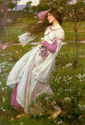 John William Waterhouse. Flowers in the wind