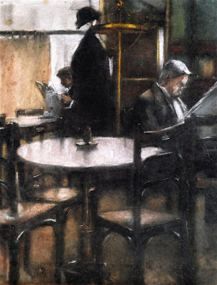 Lesser Ury. Two gentlemen reading newspaper in cafe