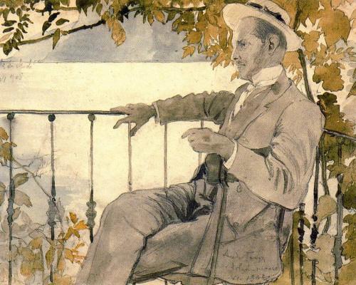Александр Николаевич Бенуа. Портрет мужчины в шляпе