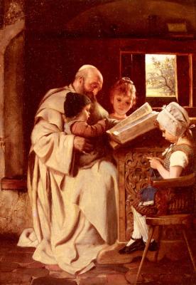 Герман Каульбах. Чтение Библии