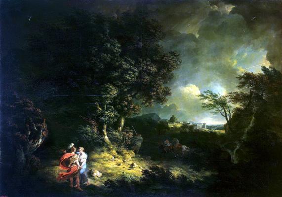 Томас Джонс. Пейзаж с Энеем и Дидоной