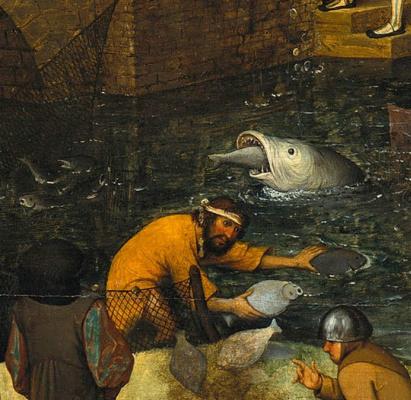 Питер Брейгель Старший. Фламандские пословицы. Фрагмент: Ловить рыбу без сети - извлекать выгоду из работы других людей