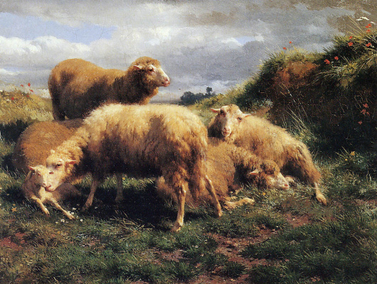 Rose Bonhur. Landscape with sheep