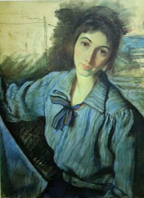 Zinaida Serebryakova. Self portrait at work (self Portrait with a blue bow)