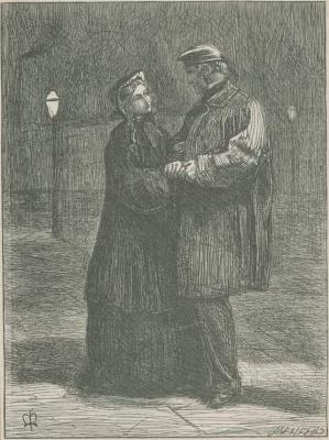 """Джон Эверетт Милле. Пара на ночной улице. Иллюстрация для журнала """"Хорошие слова"""""""