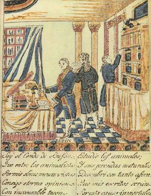 Ксилограф из печатни Эстивиль в Барселоне. Граф Бюффон, дидактическое изображение