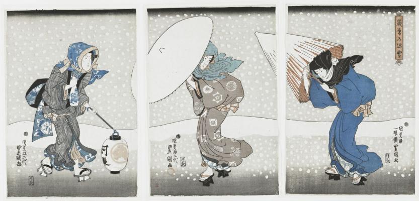 Утагава Кунисада. Обильный снегопад в конце года