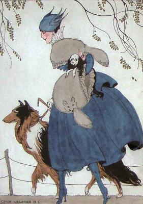 Gerda Wegener. Untitled (Woman with two dogs) 1915