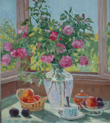 Eugene Alexandrovich Kazantsev. Still life blooming wild rose.