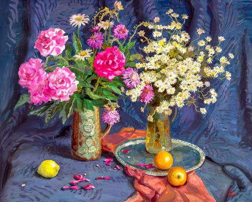 Владимир Николаевич Ольхов. Натюрморт с апельсинами и лимонами. 2008 Смешанная техника