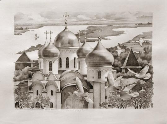 """Василий Васильевич Тимофеев. """"Софийский собор,"""" Великий Новгород"""
