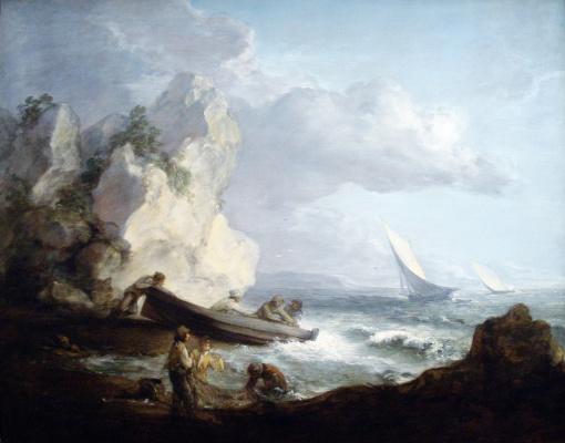 Томас Гейнсборо. Рыбаки на штормовом морском побережье