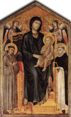 Cheney di Pepo Cimabue. Madonna and child with saints Dominic and St. Francis