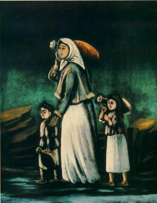 Niko Pirosmani (Pirosmanashvili). Peasant woman with children goes for water