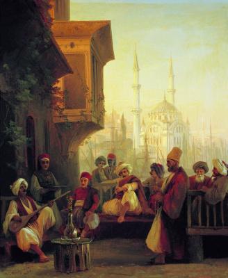 Восточная сцена. Кофейня у мечети Ортакей в Константинополе