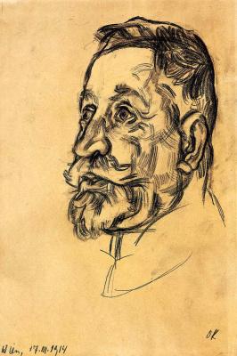 Oskar Kokoschka. Portrait of a man with a beard and mustache