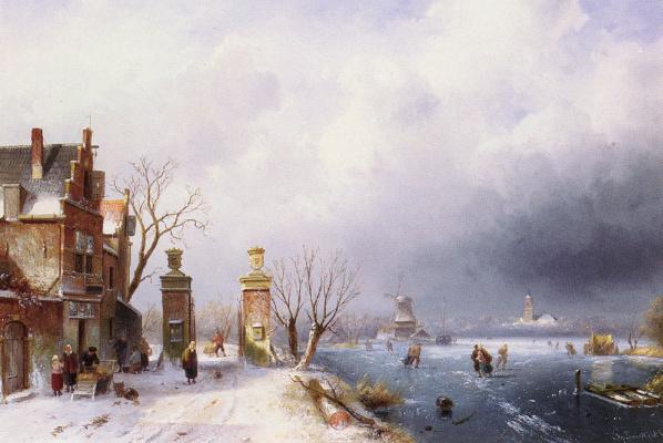 Чарльз Генри Джозеф Лейкерт. Утренний зимний пейзаж