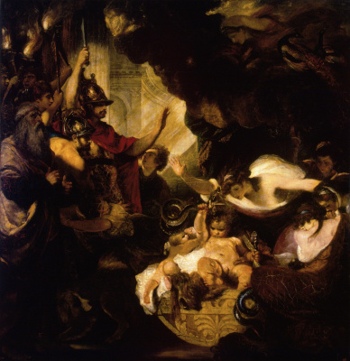 Joshua Reynolds. The infant Hercules strangling the serpents, sent by the Hero