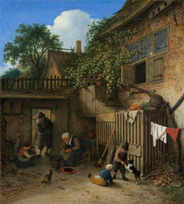 Adrian Jans van Ostade. In the yard of a peasant house