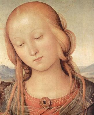 Pietro Perugino. Madonna with St. John the Baptist, detail: Head of Madonna